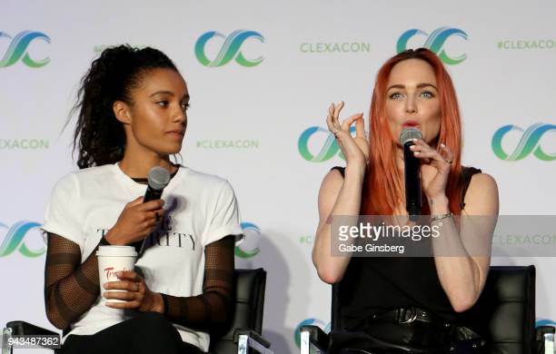 Actresses Maisie RichardsonSellers and Caity Lotz speak at the Legends of Tomorrow panel during the ClexaCon 2018 convention at the Tropicana Las...
