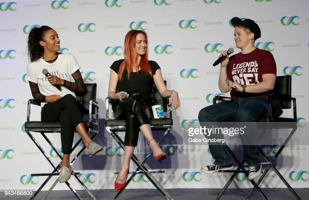Actresses Maisie RichardsonSellers Caity Lotz and moderator Jess HarrisDiStefano speak at the Legends of Tomorrow panel during the ClexaCon 2018...