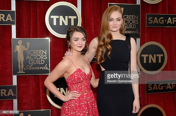 Actresses Maisie Williams and Sophie Turner attend the 21st Annual Screen Actors Guild Awards at The Shrine Auditorium on January 25 2015 in Los...