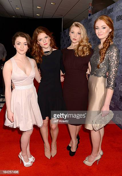 Actresses Maisie Williams Rose Leslie Natalie Dormer and Sophie Turner attend HBO's Game Of Thrones Season 3 Seattle Premiere on March 21 2013 in...