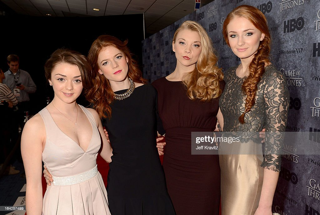 Actresses Maisie Williams, Rose Leslie, Natalie Dormer and Sophie Turner attend HBO's 'Game Of Thrones' Season 3 Seattle Premiere on March 21, 2013 in Seattle, Washington.