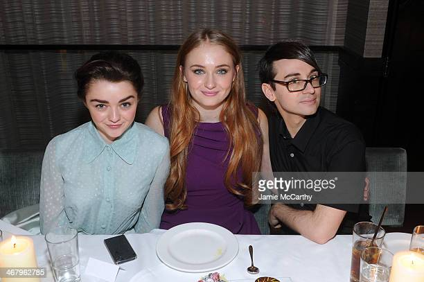 Actresses Maisie Williams Sophie Turner and designer Christian Siriano attend Christian Siriano private dinner and after party during MercedesBenz...