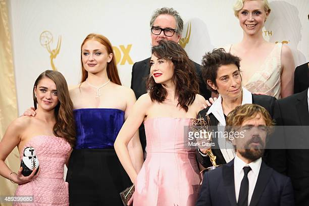 Actresses Maisie Williams Sophie Turner producer Guymon Casady actress Carice van Houten producer Carolyn Strauss actress Gwendoline Christie and...