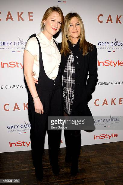 Actresses Mamie Gummer and Jennifer Aniston attend The Cinema Society InStyle Host A Special Screening Of 'Cake'' at Tribeca Grand Hotel on November...