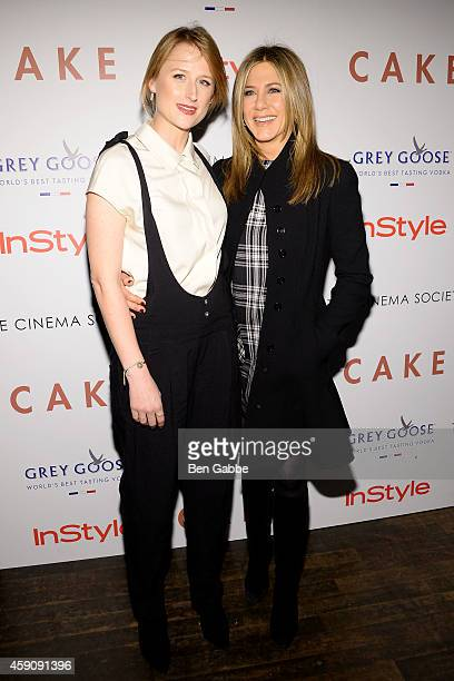 Actresses Mamie Gummer and Jennifer Aniston attend The Cinema Society InStyle Host A Special Screening Of 'Cake' at Tribeca Grand Hotel on November...
