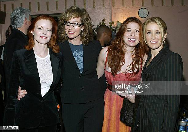 Actresses Marcia Cross Allison Janney Debra Messing and Felicity Huffman attend the Annual Cracked XMAS 7 charity function on December 5 2004 at the...