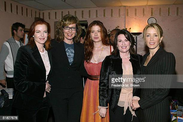 Actresses Marcia Cross Allison Janney Debra Messing Megan Mullally and Felicity Huffman attend the Annual Cracked XMAS 7 charity function on December...