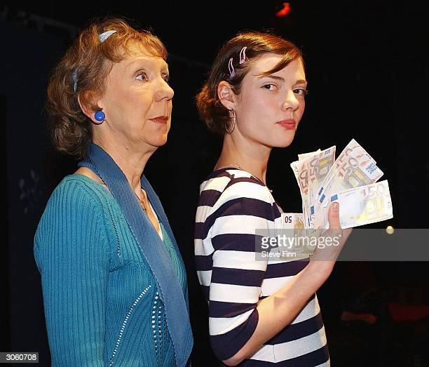Actresses Marcia Warren and Camilla Rutherford participate in the photocall for new play 3 Women at the Riverside Studios on March 10 2004 in...