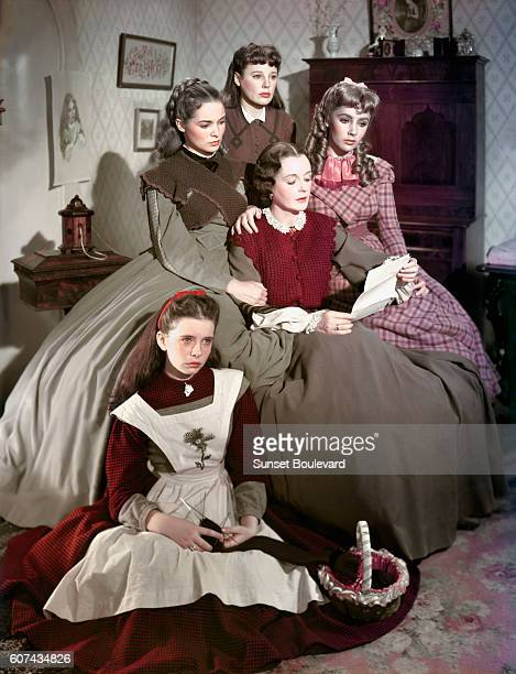 Actresses Margaret O'Brien Janet Leigh June Allyson Elyzabeth Taylor and Mary Astor on the set of Little Women based on the novel by Louisa May...
