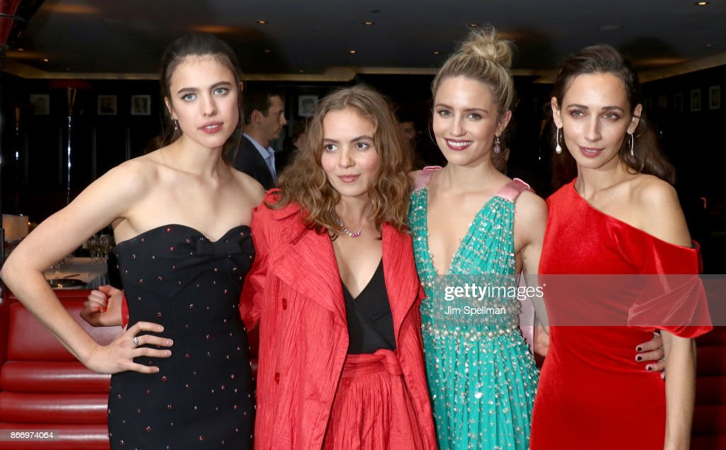 Actresses Margaret Qualley, Morgan Saylor, Dianna Agron and Rebecca Dayan attend the screening after party for Sony Pictures Classics' 'Novitiate' hosted by Miu Miu and The Cinema Society at The Lambs Club on October 26, 2017 in New York City.
