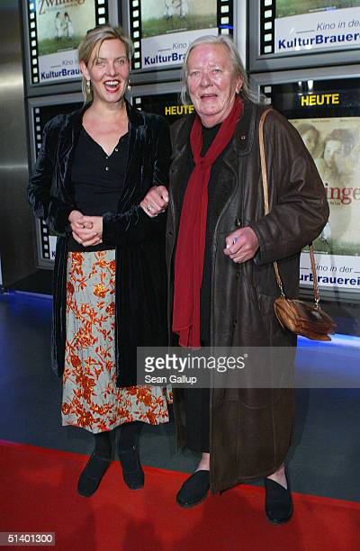 Actresses Margarita Broich and Gudrun Okras arrive at the German premiere of Die Zwillinge at the Kulturbrauerei on October 4 2004 in Berlin Germany