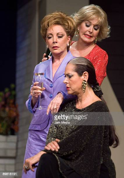 Actresses Margarita Gralia Jaqueline Andere and Isaura Espinoza in action during the play 'Entre Mujeres' based on the work of Santiago Moncada at...