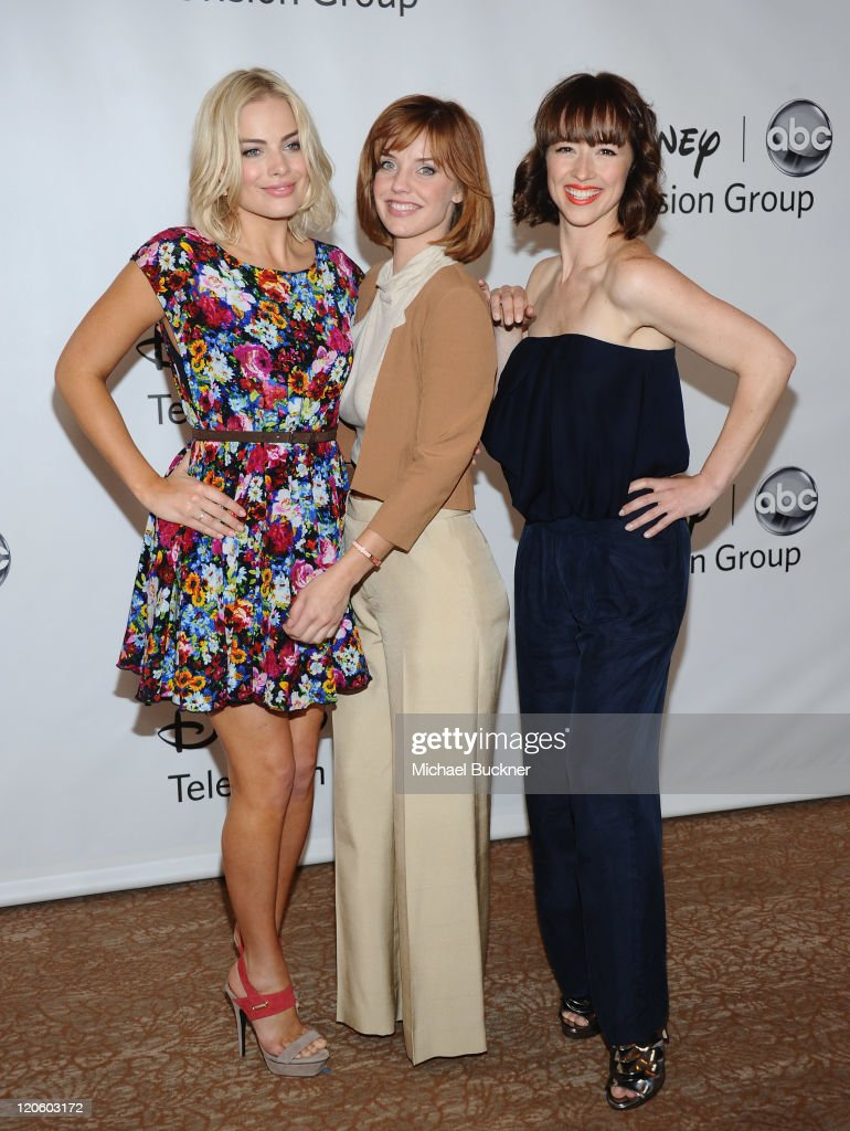 Actresses Margot Elise Robbie, Kelli Garner and Karine Vanasse arrive at the Disney ABC Television Group's 'TCA 2001 Summer Press Tour' at the Beverly Hilton Hotel on August 7, 2011 in Beverly Hills, California.