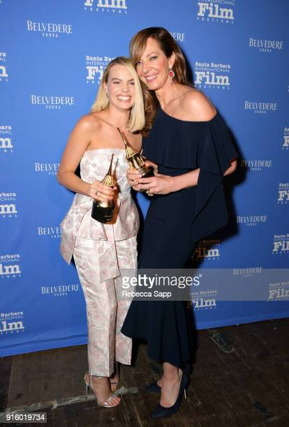Actresses Margot Robbie and Allison Janney pose backstage at the Outstanding Performers Honoring Margot Robbie and Allison Janney Presented By...