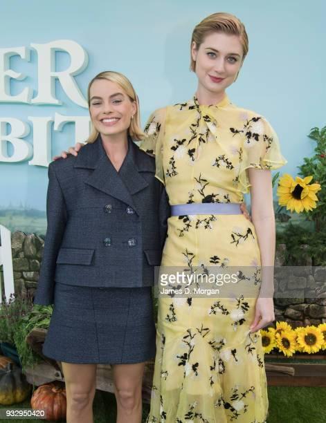Actresses Margot Robbie and Elizabeth Debicki attend the Peter Rabbit Australian Premiere on March 17 2018 in Sydney Australia