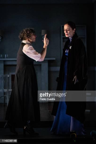 Actresses Maria Isabel Diaz Lago and Aitana SanchezGijon perfors on stage La Vuelta De Nora Casa De Muñecas 2 at Bellas Artes Theatre on April 26...