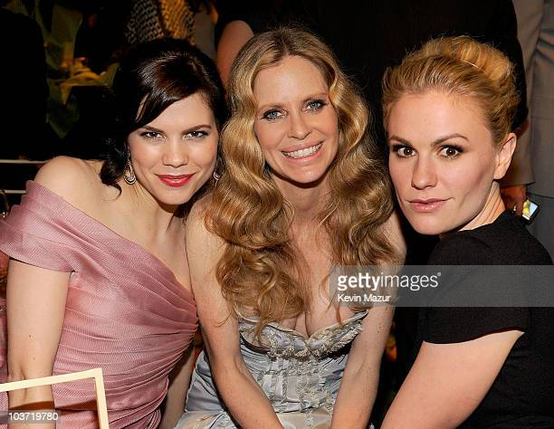Actresses Mariana Klaveno, Kristin Bauer and Anna Paquin attend HBO after party for the 62nd Primetime Emmy Awards at Pacific Design Center on August...