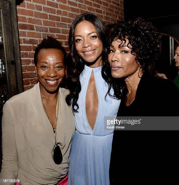 """Actresses Marianne Jean-Baptiste, Naomie Harris and Angela Bassett pose at the after party for the premiere of The Weinstein Company's """"Mandela: Long..."""
