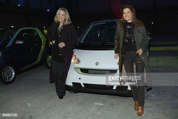 Actresses Marie Christine Adam and Christine Lemler attend the 10 years party of the Smart as a new Hermes designed Smart Fortwo is presented at the...