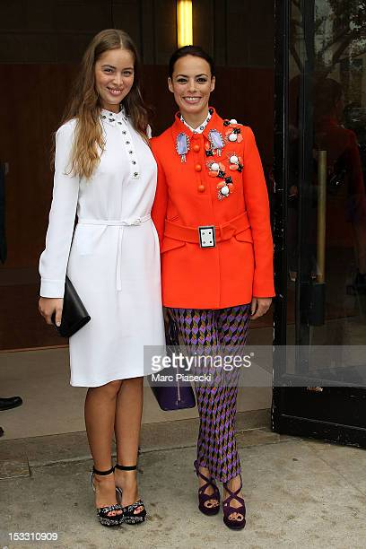 Actresses MarieAnge Casta and Berenice Bejo are seen leaving the Miu Miu Spring/Summer 2013 show as part of Paris Fashion Week on October 3 2012 in...