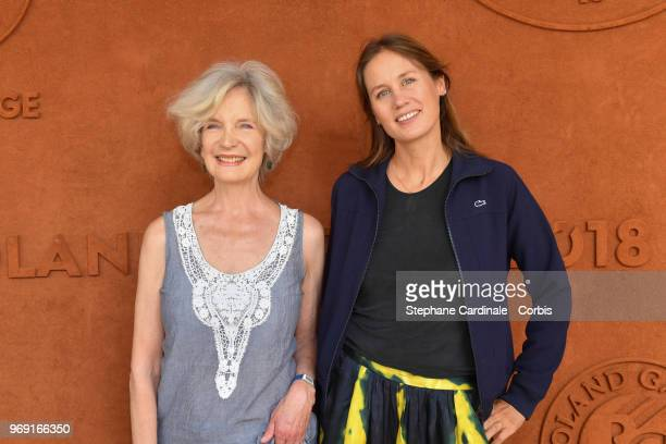 Actresses MarieChristine Adam and Eloise Lang attend the 2018 French Open Day Twelve at Roland Garros on June 7 2018 in Paris France