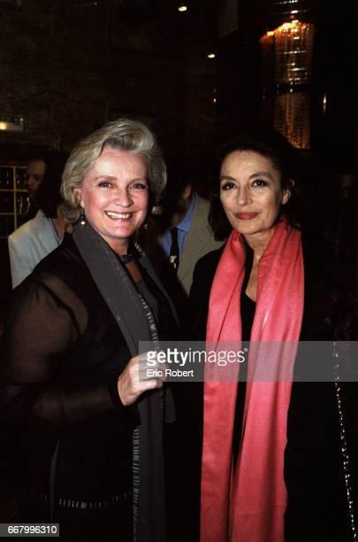 Actresses MarieChristine Barrault and Anouk Aimee attend a benefit party for the Association pour la Vie Espoir contre le Cancer in Paris The...