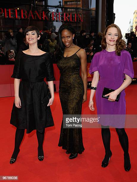 Actresses Marija Skaricic Yollette Thomas and Anne RattePolle attend the 'Shahada' Premiere during day seven of the 60th Berlin International Film...