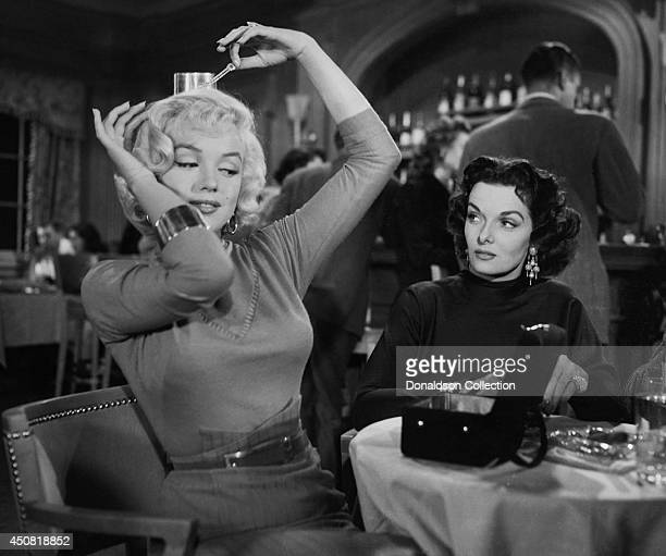 Actresses Marilyn Monroe and Jane Russell in a publicity still for the film 'Gentlemen Prefer Blondes' in 1953 in Los Angeles California