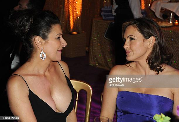 Actresses Marina Sirtis and Mariska Hargitay attend the official HBO SAG Awards after party held at at Spago on January 29 2011 in Beverly Hills...