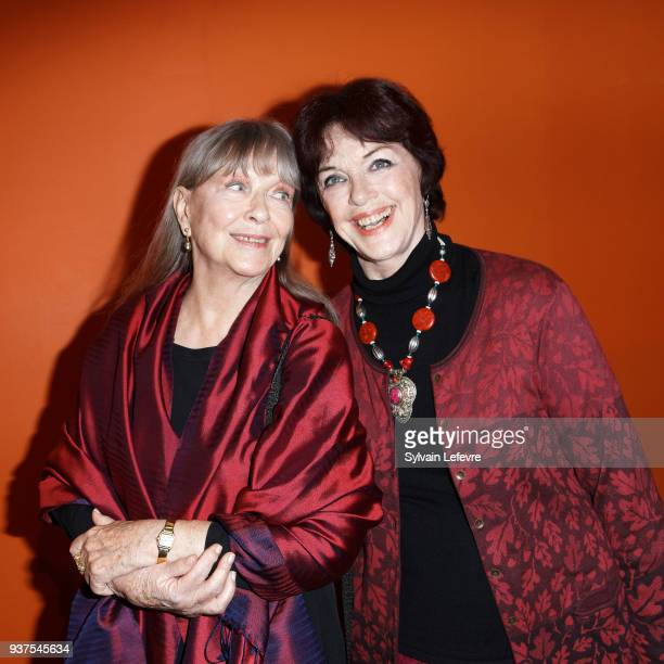 Actresses Marina Vlady and Anny Duperey pose after attending the tribute to Anny Duperey during the closing ceremony of Valenciennes Film Festival on...