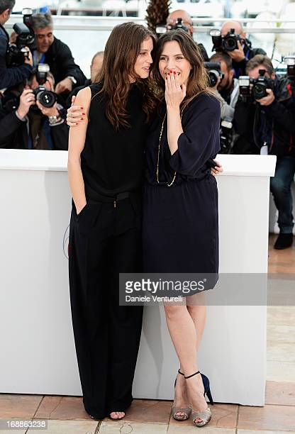 Actresses Marine Vacth and Geraldine Pailhas attend the photocall for 'Jeune Jolie' during the 66th Annual Cannes Film Festival at Palais des...