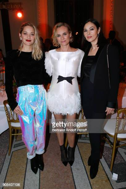 Actresses Marion Cotillard Diane Kruger and Monica Bellucci attend the 'Cesar Revelations 2018' Party at Le Petit Palais on January 15 2018 in Paris...