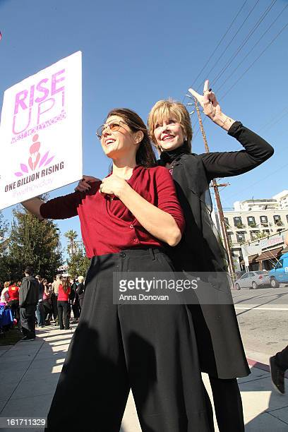 Actresses Marisa Tomei and Jane Fonda attend the kick-off for One Billion Rising in West Hollywood on February 14, 2013 in West Hollywood, California.