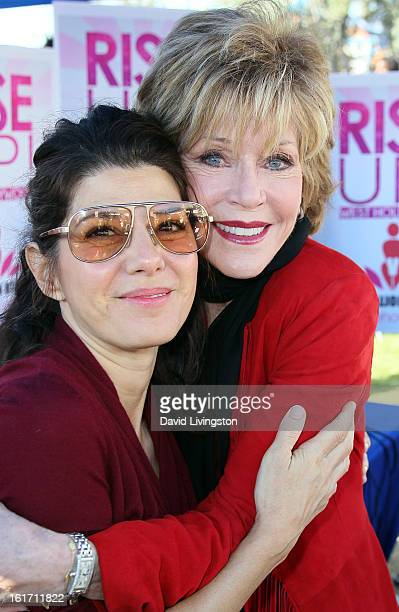 Actresses Marisa Tomei and Jane Fonda attend the kickoff for One Billion Rising in West Hollywood on February 14 2013 in West Hollywood California