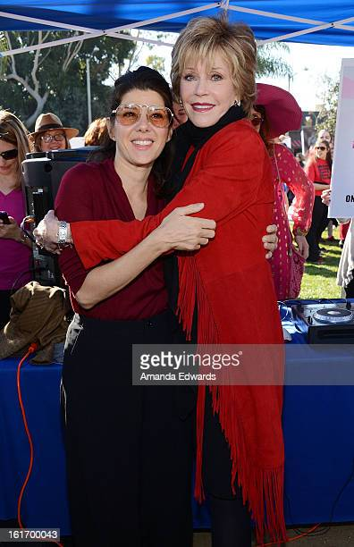 Actresses Marisa Tomei and Jane Fonda help kickoff One Billion Rising on February 14 2013 in West Hollywood California