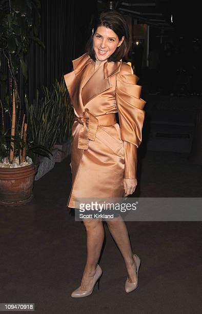 Actresses Marisa Tomei arrives at the Chanel Charles Finch PreOscar Dinner Celebrating Fashion Film at Madeo Restaurant on February 26 2011 in Los...