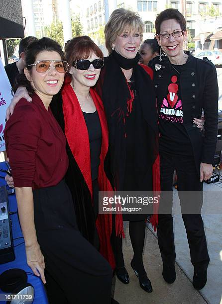 Actresses Marisa Tomei Frances Fisher and Jane Fonda and City of West Hollywood Mayor Pro Tempore Abbe Land attend the kickoff for One Billion Rising...