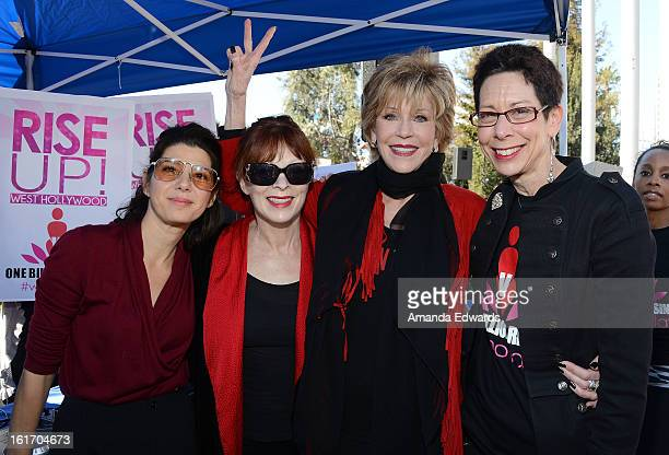 Actresses Marisa Tomei Frances Fisher and Jane Fonda and West Hollywood Mayor Pro Tempore Abbe Land help kickoff One Billion Rising on February 14...