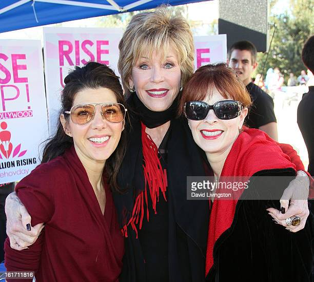 Actresses Marisa Tomei Jane Fonda and Frances Fisher attend the kickoff for One Billion Rising in West Hollywood on February 14 2013 in West...