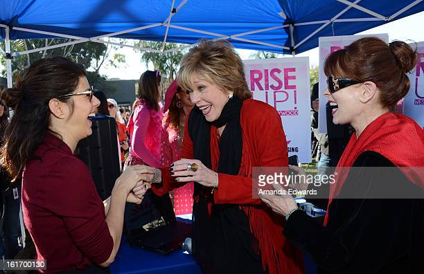 Actresses Marisa Tomei Jane Fonda and Frances Fisher help kickoff One Billion Rising on February 14 2013 in West Hollywood California