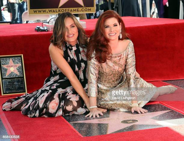 Actresses Mariska Hargitay and Debra Messing attend Debra Messing being honored with a Star on the Hollywood Walk of Fame on October 6 2017 in...