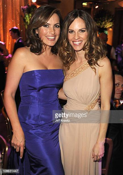 Actresses Mariska Hargitay and Hilary Swank attend the official HBO SAG Awards after party held at at Spago on January 29 2011 in Beverly Hills...