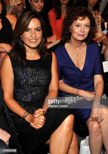Actresses Mariska Hargitay and Susan Sarandon attend the Lela Rose Spring 2012 fashion show during MercedesBenz Fashion Week at The Studio at Lincoln...