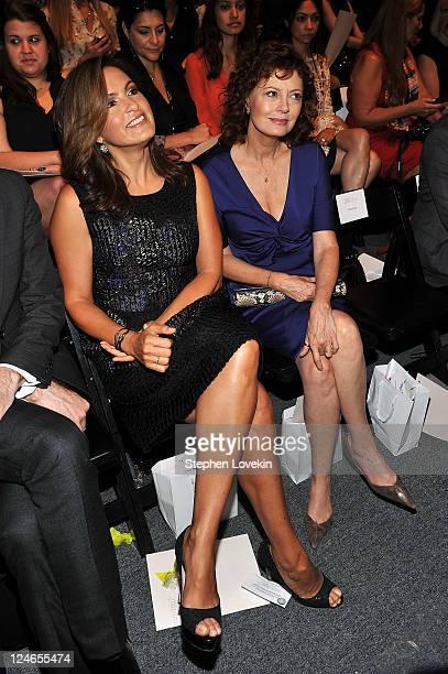Actresses Mariska Hargitay and Susan Sarandon attend the Lela Rose Spring 2012 fashion show during Mercedes-Benz Fashion Week at The Studio at...