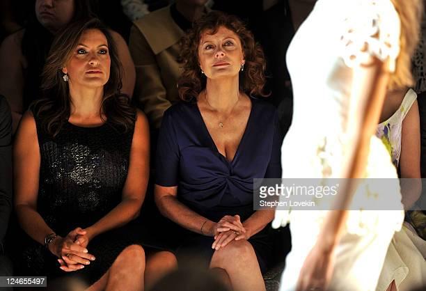 Actresses Mariska Hargitay and Susan Sarandon attend the Lela Rose Spring 2012 fashion show during MercedesBenz Fashion Week at The Studio at Lincoln...