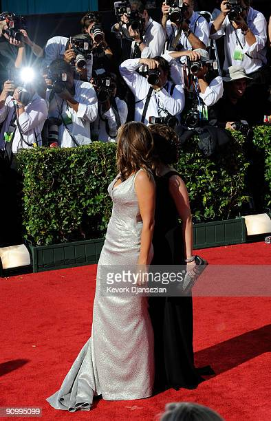 Actresses Mariska Hargitay and Tina Fey arrive at the 61st Primetime Emmy Awards held at the Nokia Theatre on September 20 2009 in Los Angeles...