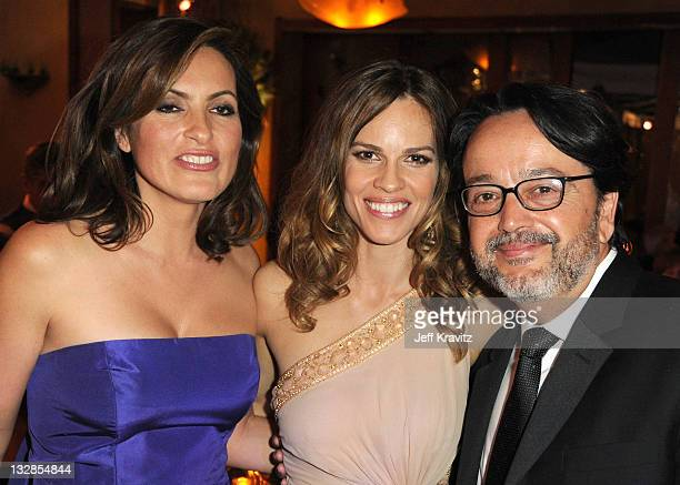 Actresses Mariska Hargitay Hilary Swank and President of HBO Films Len Amato attend the official HBO SAG Awards after party held at at Spago on...