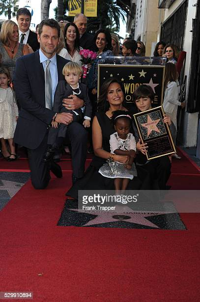 Actresses Mariska Hargitay with her husband Peter Hermann and her children pose at the ceremony that honored her with a Star on the Hollywood Walk of...