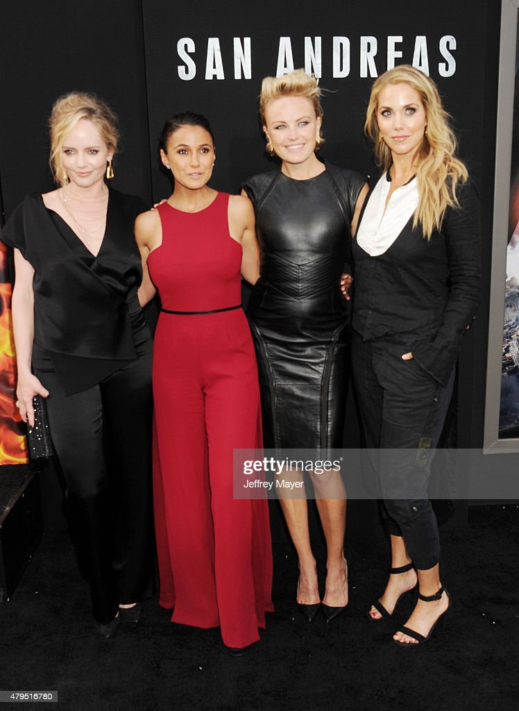 Actresses Marley Shelton, Emmanuelle Chriqui, Malin Akerman and Elizabeth Berkley arrive at the 'San Andreas' - Los Angeles Premiere at TCL Chinese Theatre IMAX on May 26, 2015 in Hollywood, California.