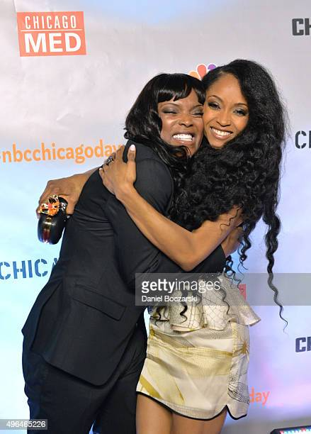 Actresses Marlyne Barrett and Yaya DaCosta attend a premiere party for NBC's 'Chicago Fire', 'Chicago P.D.' and 'Chicago Med' at STK Chicago on...